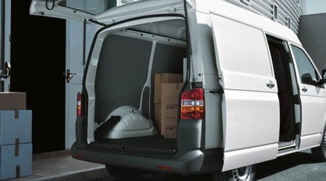 White van for parcels deliveries